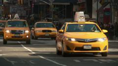 Time Square Taxis 1 Stock Footage