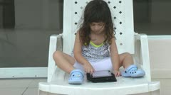 Little having problems using the wireless tablet Stock Footage