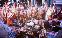 Asian meat market Stock Photos