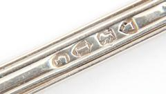 Hallmarked sterling silver spoon handle. Stock Photos