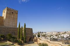 Alcazaba of alhambra and granada Stock Photos