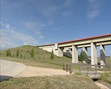 Aqueduct pan exterior Strepy-Thieu boat lift + pan landscape Stock Footage