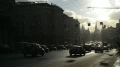 Lot of cars on the road in Moscow on a sunny winter day. Stock Footage