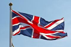 british flag on flagpole - stock photo