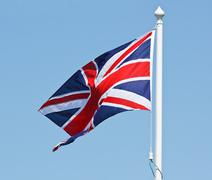 union jack flag on flagpole - stock photo