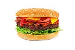 bacon cheeseburger - stock photo