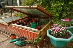 gardeners cold frame - stock photo