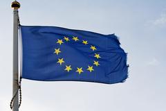 The european union flag on flagpole Stock Photos