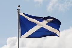 Scotland flag on flagpole Stock Photos