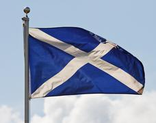 scotland flag on flagpole - stock photo
