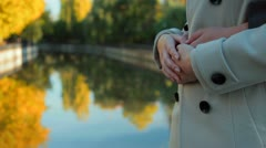 Couple embracing in the autumn park Stock Footage