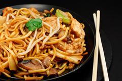 chicken chow mein - stock photo