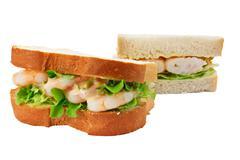Prawn salad sandwich sliced bread Stock Photos
