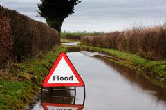 flood warning sign - stock photo