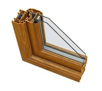 Upvc wood effect double glazing cross section Stock Photos