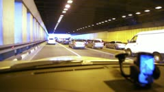 Multiband vehicular traffic in tunnel on Third Transport Ring Stock Footage