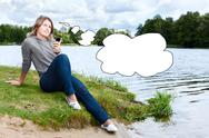 Young thinking woman with mobile phone and blank thought cloud Stock Illustration