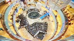Cafe in the atrium AFIMALL City from above the fourth floor - stock footage