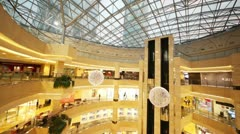 People walk in AFIMALL CITY under skyscrapers Stock Footage