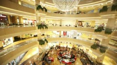 The view from the elevator to the Interior AFIMALL CITY Stock Footage