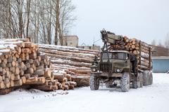 Log loader track with timber in lumber-mill in winter season Stock Photos