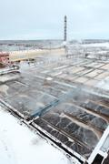 Covered with snow sewage treatment plant Stock Photos