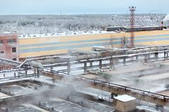 Industrial view of sewage treatment plant with evaporation in winter season Stock Photos