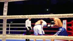 Fighters exchange punches during boxing match WSB Stock Footage