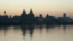 liverpool skyline and waterfront at sunrise - stock footage