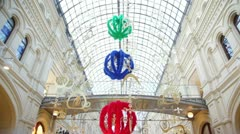 Interior of GUM embellished with decorations that hang with roof Stock Footage
