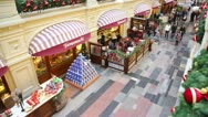 Stock Video Footage of The facade of deli in Moscow's GUM decorated before Christmas