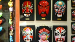 Beijing Opera mask on the wall,chinese tradition art culture. - stock footage