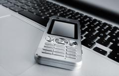 Laptop and mobile phone Stock Photos
