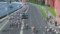 Bicycle Race for benefit of children with Downs syndrome Stock Footage