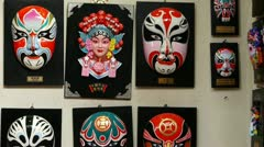 Beijing Opera mask on the wall,chinese tradition art culture. Stock Footage