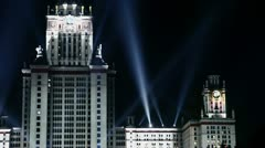 Beam of projector moves on Moscow Sate University Stock Footage