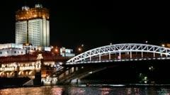 Cutter sail by river under Novoandreevsky bridge Stock Footage