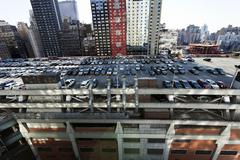 Port authority terminal rooftop parking and skyscrapers manhattan new york Stock Photos