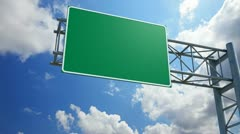 Empty 3d highway exit sign Stock Footage