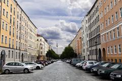 strelitzer strasse and belin television tower fernsehturm germany - stock photo