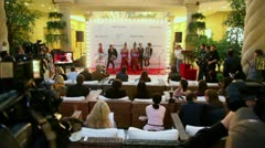 Press-day famous French cabaret Moulin Rouge in Crocus City Mall Stock Footage