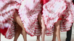 Girls in dress dance for cancan stand and shake skirts Stock Footage