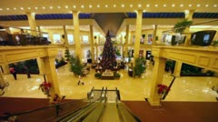 Hall of two-story Crocus City Mall in Moscow Stock Footage