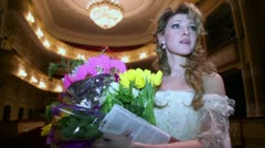 Actress Anastasia Makeeva speaks after musical - Francois Villon Stock Footage