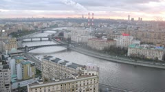 Evening panorama of Moscow River in Moscow Stock Footage