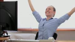 Portrait of an excited young woman rejoicing success, slow motion HD Stock Footage