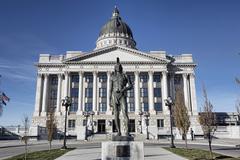 Utah State Capital Indian Chief Massasoit statue Stock Photos