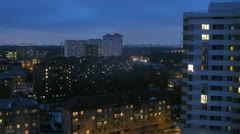 City panorama in the evening. Timelapse. Stock Footage