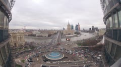 Cars moving on New Arbat and Kutuzovsky avenue Stock Footage
