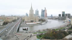 City panorama with hotel and river. Timelapse Stock Footage